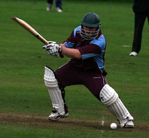 Stuart Corbett-Byers square cuts in the semi-final run chase