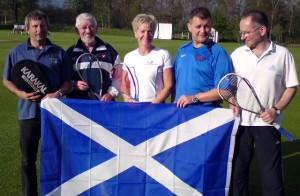 Taking their turn for Scotland: Robin Ridley, Davy Rogan, Sue Strachm, Jimmy Wells, Ronnie Carter
