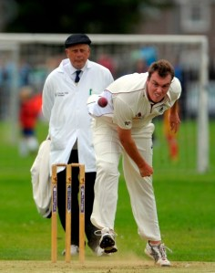 APD Dumfries's Josh Geary bowls his effort ball. Copyright Donald MacLeod