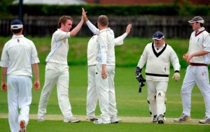 Dumfries's Robert McBride and Jim Patterson celebrate a wicket. Copyright Donald MacLeod