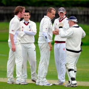 Dumfries's Jim Patterson celebrates a wicket. Copyright Donald MacLeod