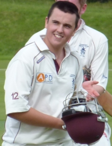 Chris Bellwood leaves the field after scoring 170 not out