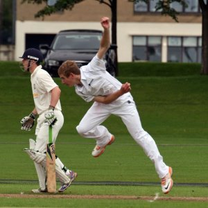 Niall bowling for Scotland U17s last season © David M Potter