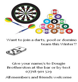 darts pool dominos