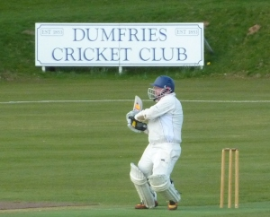 Stuart Corbett-Byers reaches his fifty with a boundary