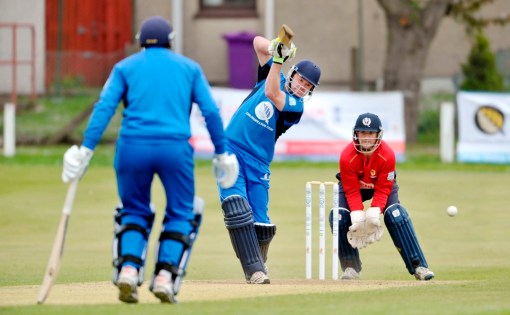 Beveridge hitting out for the Reivers v Highlanders. Courtesy of Cricket Scotland