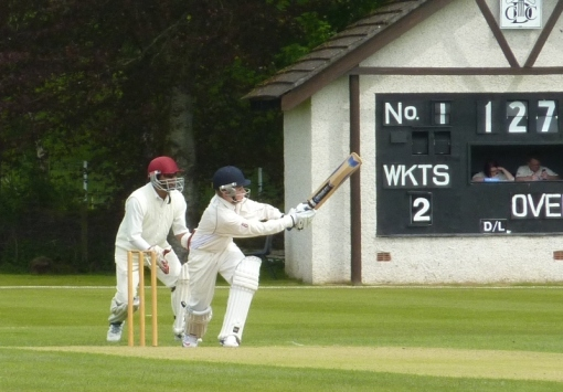 Chris hit 34 on Saturday, and a century on Sunday