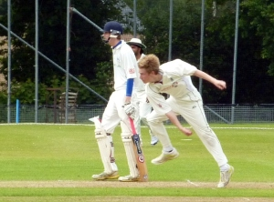 Fraser in bowling action in the Nunholm win