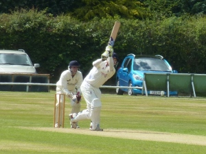 Bevo lands a six on the railway end banking