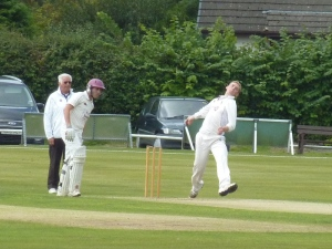 Niall bowling on Saturday against Ayr