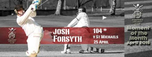 Josh hit his maiden century for Dumfries. Images Courtesy of SVZPHOTOGRAPHYUK.COM