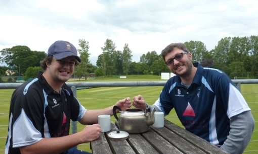 """Teas for Nepal"" - Josh for the 1sts and Andy for the 2nds start off the Nepal Earthquake donations at Dumfries Cricket Club."