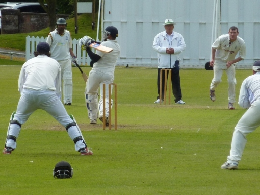 Dumfries Man of the Match Alan Davidson bowls another of his four victims