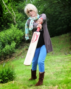 Joanna Lumley batting for the Nepal Earthquake appeal by Scottish Cricket