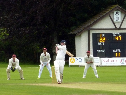 An Alan Davidson boundary on his way to 46 for Stafforce Dumfries