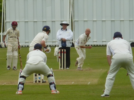 Nunholm Man of the Match Drew Dawson looking for another wicket